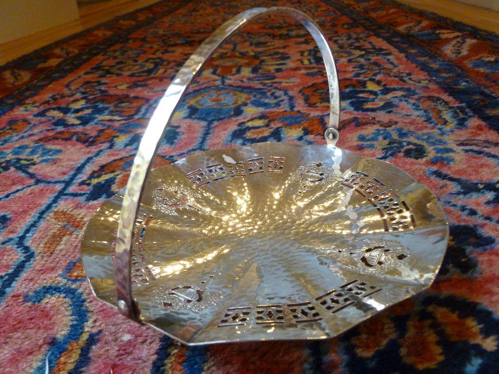 Bernard Rice Apollo Silver Plate Art Deco Tray w Handle