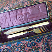 Antique Silver Plate Master Fish Set Knife & Fork in Case Allen & Darwin, Sheffield England