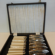 Antique English Silver Plate Fish Set EPNS 12 Piece