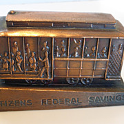 Vintage Cast Metal Copper San Francisco Cable Car Bank by Banthrico