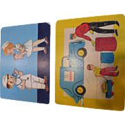 Vintage Wood JigSaw Children's Puzzles Joseph Straus Pair