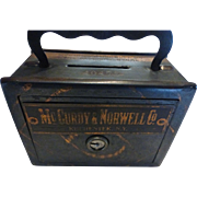 Antique Child's Coin Bank Safe Strong Box Lock Box McCurdy & Norwell Co.