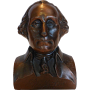 Vintage Cast Metal Copper George Washington Bust Bank by Banthrico WASHINGTON MUTUAL SAVINGS BANK