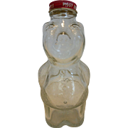 Piggy Bank Bottle New England Syrup Co. Clear Glass