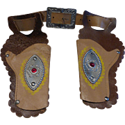 Vintage Child's Toy Cowboy Belt & Holster Set Leather w Conchos