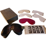 World War II, U.S. Military Goggles 1944 In Box 3 Lenses for Aviation, Flight, Motorcycles