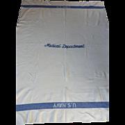 Vintage WWII US NAVY Medical Department Wool Blanket Military