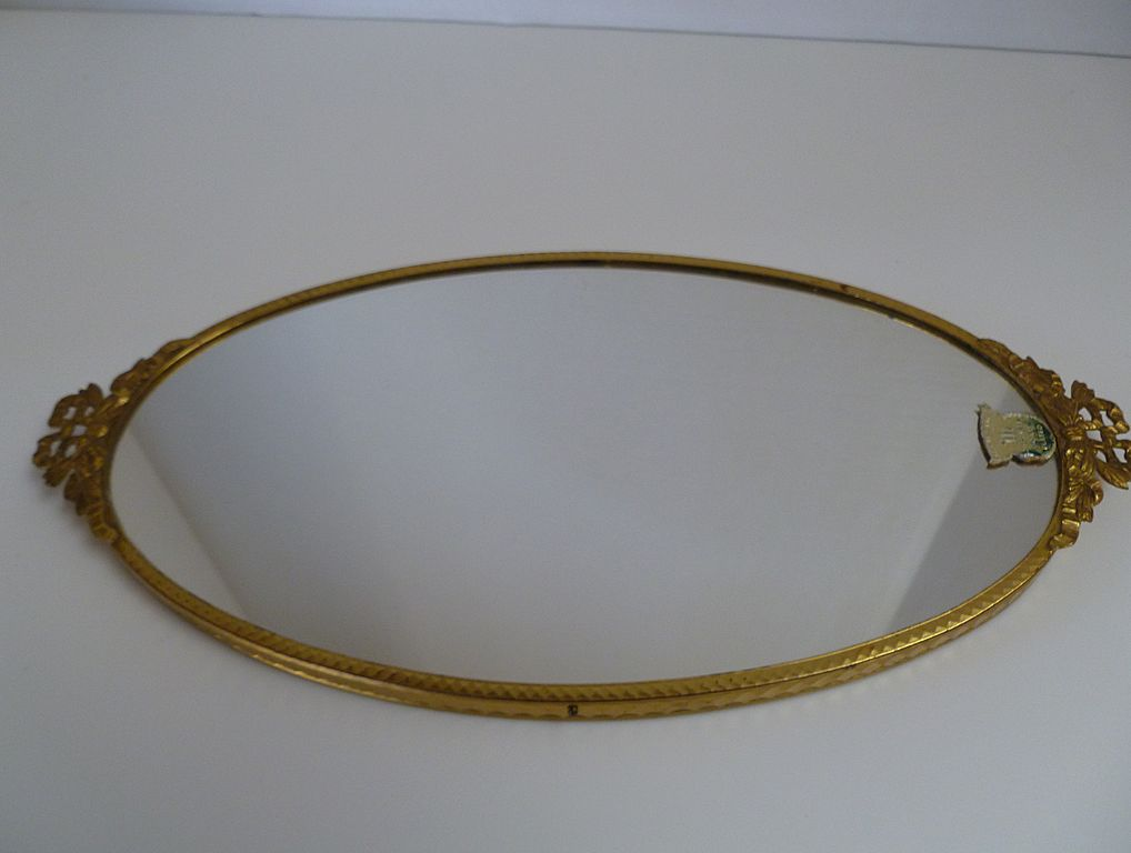 Vintage 1940 S Gold Plated Vanity Mirror Tray Sold On Ruby