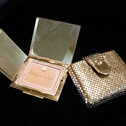Whiting and Davis Compact in Gold Tone Metal Mesh Case