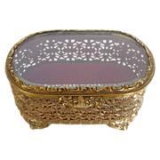 Vintage Filigree Beveled Glass Jewelry Trinket Casket Box