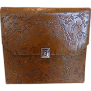 Antique Tooled Leather Handkerchief Case