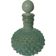 Opalescent Blue Hobnail Wrisley Cologne Bottle with Paper Label