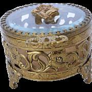 Vintage Filigree Beveled Glass Jewelry Trinket Casket Box