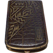 Mondaine Leather Art Deco Style Book Powder Compact