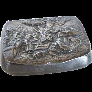 Vintage Hans Jensen Denmark Silver Repousse Snuff Pill Box