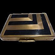 Helena Rubinstein Deco Powder Vanity Compact Black Enamel Gold Tone