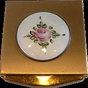 Petite Guilloche Enamel Gold Tone Powder Compact