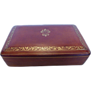Vintage Florentine Leather Box Gold Embossed Fleur de Lis Italy