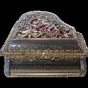 Vintage Piano Jewelry Music Box Filagree Silver Tone