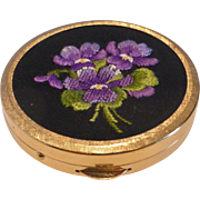 Vintage French Petit Point Embroidered Violets Powder Compact MINT