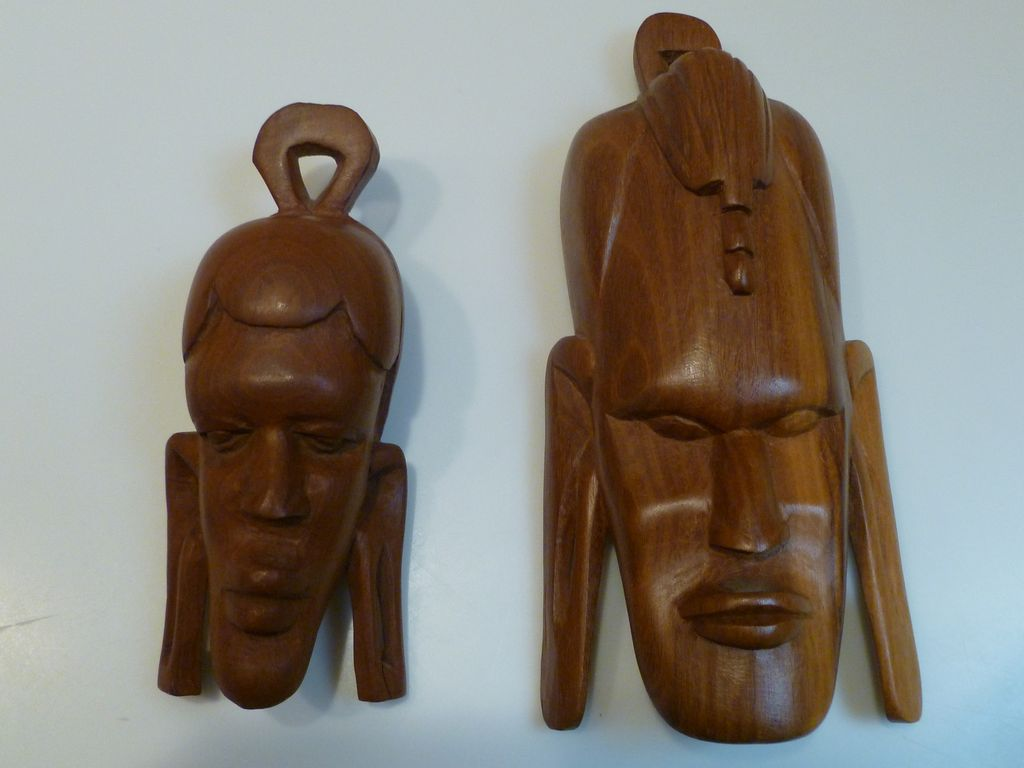 Vintage hand carved african tribal heads wood kenya from