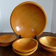 Vintage MUNISING Wooden Salad Bowl Set Maple 7 Pieces