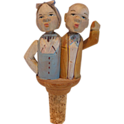 Rare Carved Wood Mechanical Bottle Cork Stopper Two Figures – Butler and Cook