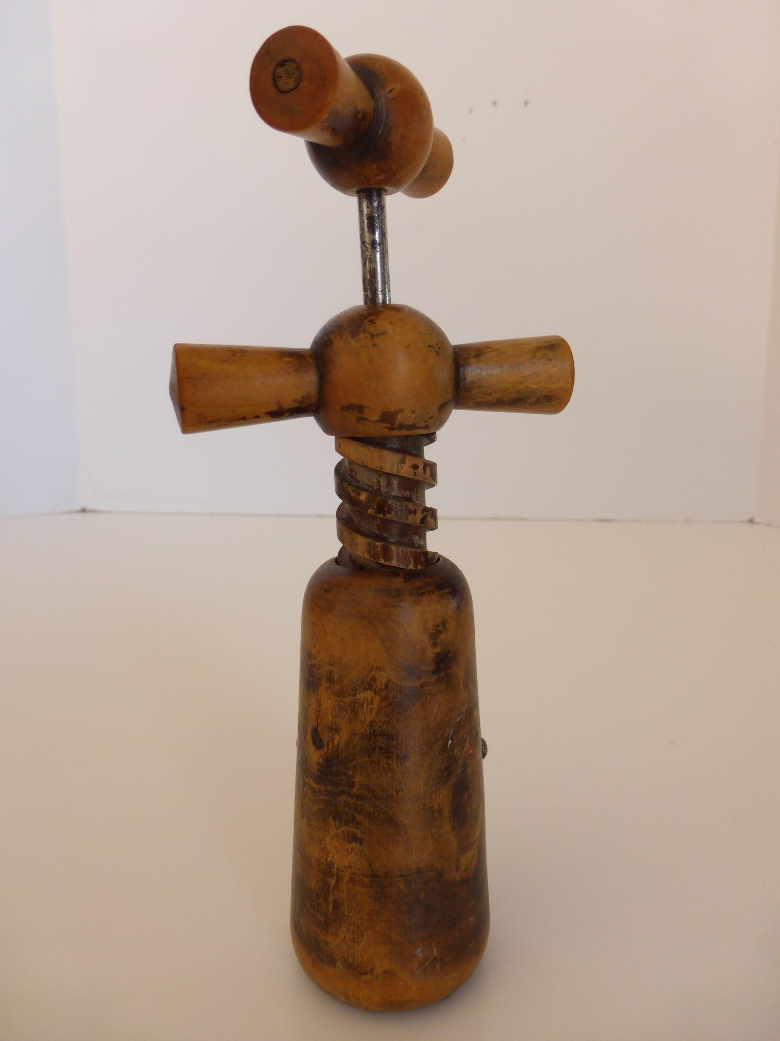 Vintage Double Handle Hand Carved Wood Corkscrew Bottle