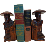 Vintage Pacific Island Hand Carved Wood Bookends Native Figures Folk Art