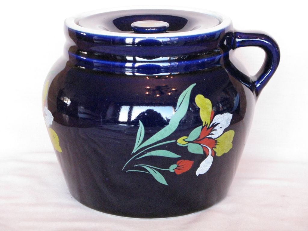 Hall China Blue Blossom Bean Pot, New England #4