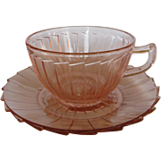 Depression Glass Pink Sierra Cup & Saucer