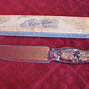 Vintage 3 Star Blue Glass Knife and Vitex Glas Box