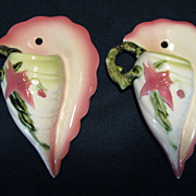 Hull Pottery Hi-Gloss Woodland, Pair of Wall Pockets, W13-7-1/2""