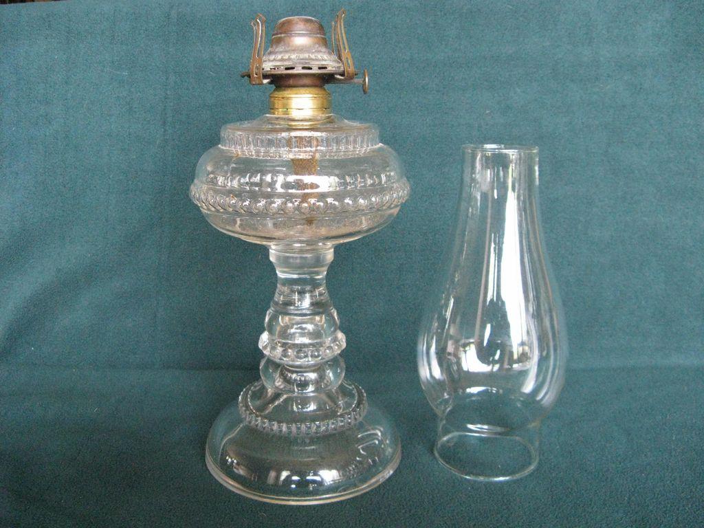 Rib And Bead Rings Oil Lamp