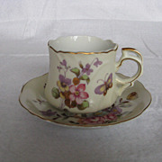 Lefton China Hand Painted Spring Bouquet Butterfly Cup & Saucer