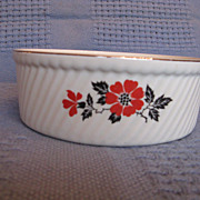 Hall China Red Poppy French Baker Fluted