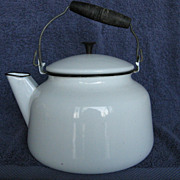 Enamelware Tea Kettle Trimmed in Black With Wooden Handle