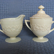 Depression Glass Indiana Custard Covered Sugar And Creamer