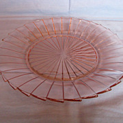 "Depression Glass Pink Sierra ""Pinwheel"" Dinner Plate"