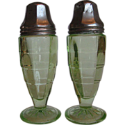 Depression Glass Block Optic Salt and Pepper Shakers