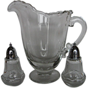 Fostoria Glass Century Cereal (Milk) Pitcher and Salt & Pepper Shakers