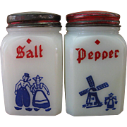 Dutch Set Milk Glass Salt & Pepper Shakers