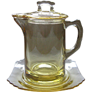 Fostoria Mayfair Topaz Syrup Pitcher Set