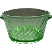 Depression Glass Green Spiral Ice Tub or Butter