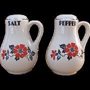 Hall China Red Poppy Handled Salt & Pepper Shakers