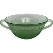 Depression Glass Green Royal Lace Cream Soup
