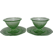 Depression Glass Green Royal Lace Sherbets and Plates