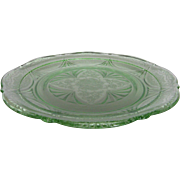 Depression Glass Green Royal Lace Luncheon Plate