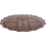 "Depression Glass Old Colony ""Lace Edge"" Five Part Platter"