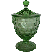 Depression Glass Green Cube Candy Jar